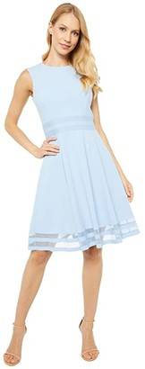 Calvin Klein A-Line Dress with Illusion Detail At Waist and Hem (Serene) Women's Dress