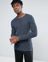 Selected 100% Cotton Crew Neck Texture Knitted Sweater