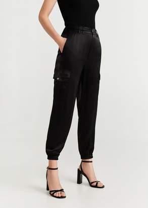MANGO Satin cargo trousers black - XXS - Women