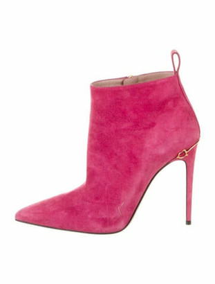 Gucci Horsebit Accent Suede Boots Pink