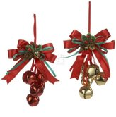 "Kurt Adler 5.5"" Metal Red/gold Bells W/bow 2/asstd"