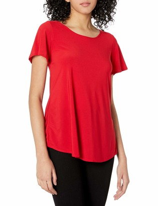 Star Vixen Women's Short Sleeve Bestselling Cage-Back Cutout Smooth Knit Top
