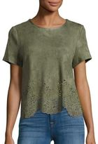 Design Lab Lord & Taylor Laser-Cut Faux Suede Top