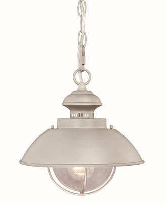 clear Vaxcel Harwich Brushed Nickel Coastal Farmhouse Barn Seeded Glass Pendant Light