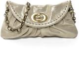 Carla Mancini Silver Shimmer Leather Clutch
