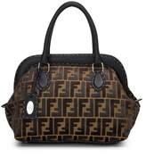 Fendi Gold Metallic Brown Velvet Zucca Selleria Handbag