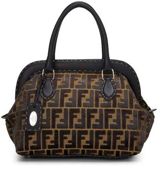 Fendi Gold Metallic Brown Velvet Zucca Selleria Handbag