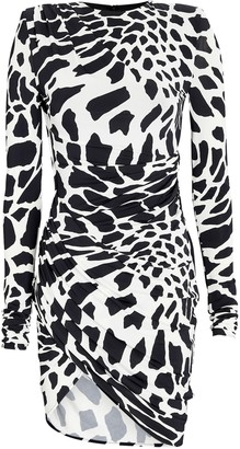 Alexandre Vauthier Draped Giraffe Print Mini Dress