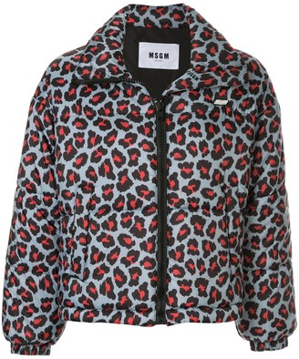 MSGM Leopard Print Zip-Up Puffer Jacket