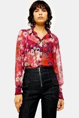Topshop Womens Idol Frill Poppy Floral Print Long Sleeve Shirt - Pink