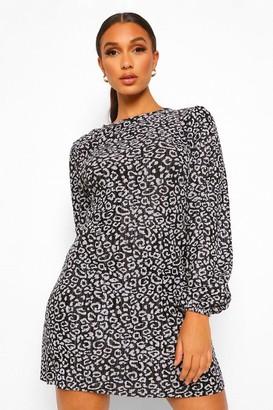 boohoo Animal Printed Plisse Puff Sleeve Shift Dress