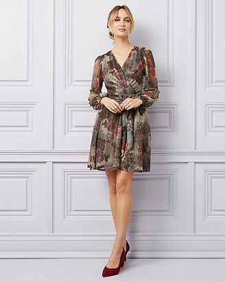 Le Château Floral Print Metallic Chiffon V-Neck Dress