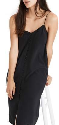 Madewell Button Front Silk Slip Dress
