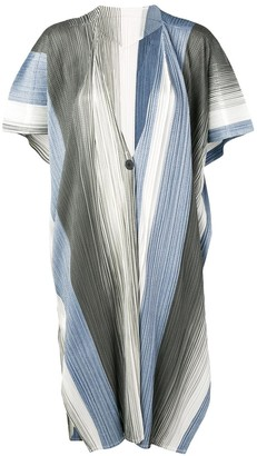 Pleats Please Issey Miyake Micro Pleated Long Cardigan