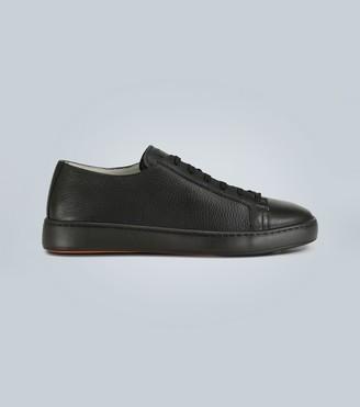 Santoni Pebble grain leather sneakers