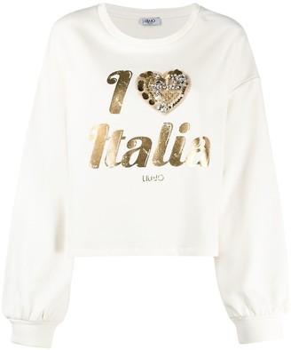 Liu Jo Slogan-Print Studded Sweatshirt