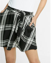 Express Plaid Tie Front Skirt