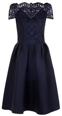 Dorothy Perkins Womens Chi Chi London Navy Embroidered Midi Bardot Dress