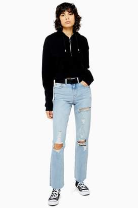 Topshop Womens Bleach Destroy Rip Straight Jeans - Bleach Stone