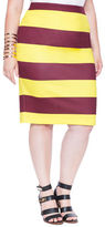 ELOQUII Plus Size Neoprene Striped Pencil Skirt
