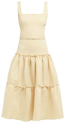 Luisa Beccaria Tiered Striped Linen-blend Midi Dress - Yellow Print