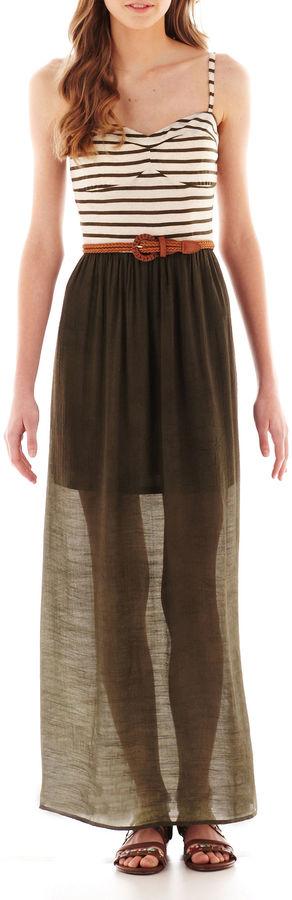 As U Wish Sleeveless Belted Maxi Dress