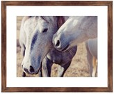 PTM Images Two White Horse Rustic Wood Framed Giclee - 22 x 18
