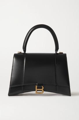 Balenciaga Hourglass Medium Glossed-leather Tote - Black