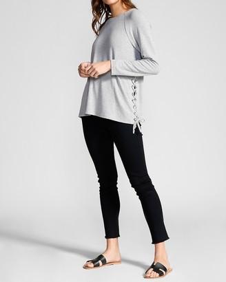 Express Bb Dakota Long Sleeve Side Tie Sweater