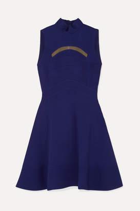 Antonio Berardi Mesh-trimmed Paneled Cady Dress - Blue