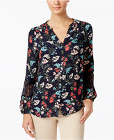 Charter Club Petite Printed Lace-Inset Blouse, Created for Macy's