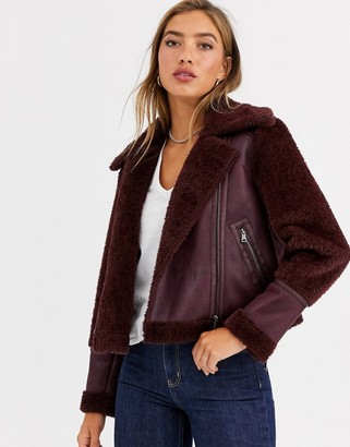 Urban Code Urbancode bonded aviator jacket with borg panels-Red