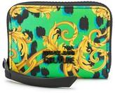 Versace baroque-print zip around wallet
