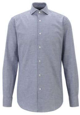 HUGO BOSS Slim Fit Shirt In A Houndstooth Cotton Blend - Dark Blue