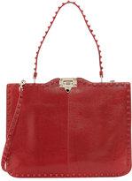 Valentino Rockstud Lizard Hobo Bag, Red