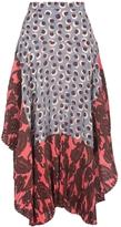 Stella McCartney Print Pleat Silk Midi Skirt