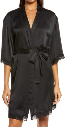 Papinelle Lace Trim Silk Short Robe