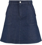 See by Chloe Crochet-trimmed denim mini skirt