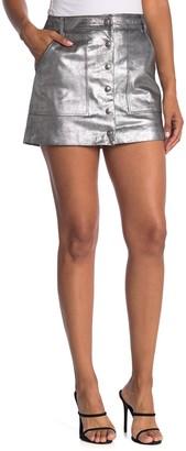 Frame Metallic Silver Mini Skirt