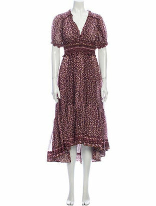 Ulla Johnson Silk Midi Length Dress Purple