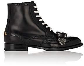 Gucci Men's Dionysus Buckle-Strap Leather Wingtip Boots - Black