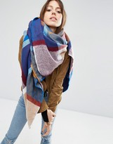 Asos Oversized Square Scarf In 70s Woven Check
