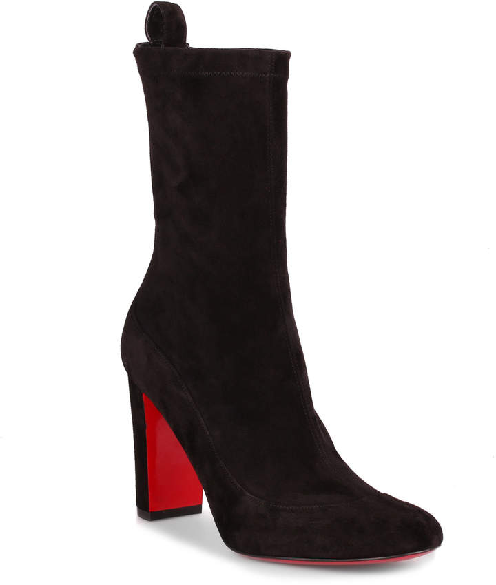 Christian Louboutin Gena 85 black suede stretch boot