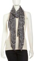 Neiman Marcus Lace-Print Scarf, Black/Gray
