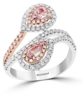 Effy Pink & White Diamond (1 ct. t.w.) Double Pear Teardrop Ring in 14K White & Rose Gold