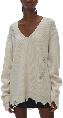 Helmut Lang V-Neck Distressed Wool-Cashmere Sweater