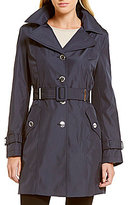 Calvin Klein Hooded Single Breasted Belted Rain Trench Coat