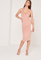 Missguided Choker Neck Faux Suede Midi Dress Pink