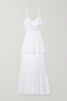 Charo Ruiz Ibiza Celina Crochet-trimmed Ruffled Cotton-blend Voile Maxi Dress - White