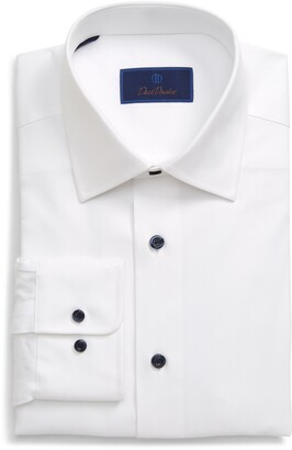 David Donahue Regular Fit Cotton Dress Shirt